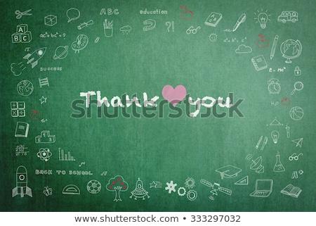 Vrouw schrijven dank u krijt Blackboard digitale Stockfoto © wavebreak_media