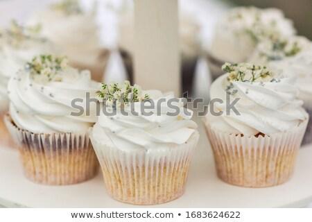 esküvő · csésze · torták · lila · ibolya · esküvői · fogadás - stock fotó © KMWPhotography
