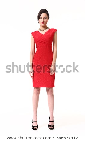 beautiful happy smiling woman in red dress isolated on black bac stock photo © victoria_andreas