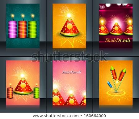 Stock photo: Brochure Beautiful decoration Happy Diwali crackers reflection t