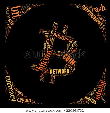 Bitcoin logo woordwolk zwarte geld internet Stockfoto © seiksoon