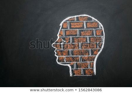 Parede de tijolos perfil cabeça engrenagem mecanismo Foto stock © tashatuvango
