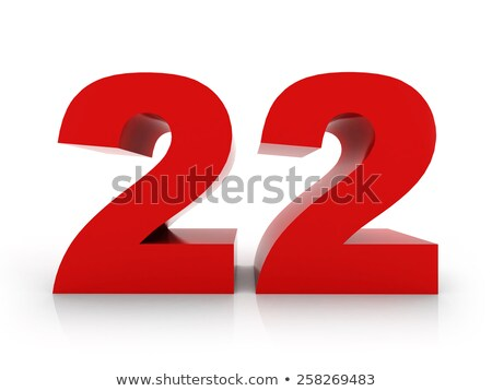 Vermelho número 22 reflexão branco projeto Foto stock © Zerbor