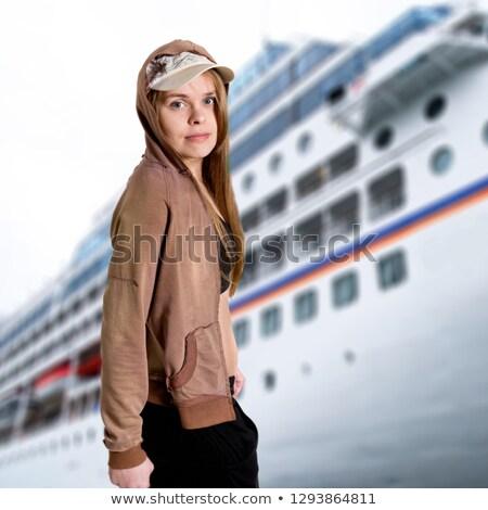 Fehér pulóver elnyűtt szőke nő hölgy modell Stock fotó © dash