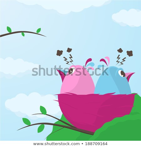 deux · cute · peu · oiseaux · désaccord · cartoon - photo stock © Porteador