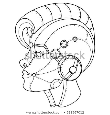スティームパンク · 少女 · 図書 · 壁 · 産業 · 読む - ストックフォト © nejron