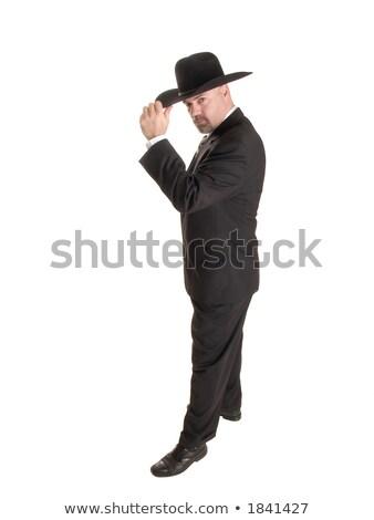 üzlet · cowboy · rajz · felfelé · férfi · üzletember - stock fotó © dgilder