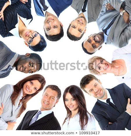 High angle smiling African American businessman isolated on whit Stock photo © dgilder