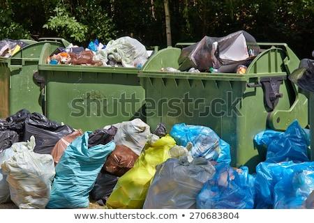 мусорный ящик зеленый парка пластиковых мусора полный Сток-фото © gemenacom