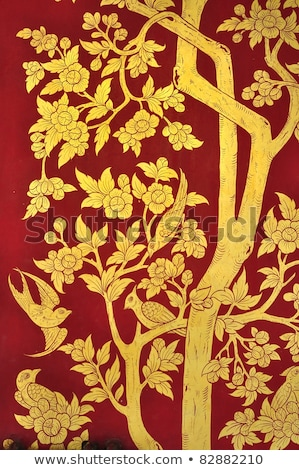 flower pattern in traditional Thai style art on wall of the temp Stock photo © FrameAngel