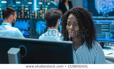 Veri merkezi siyah stilize örnek sunucular diğer Stok fotoğraf © tracer