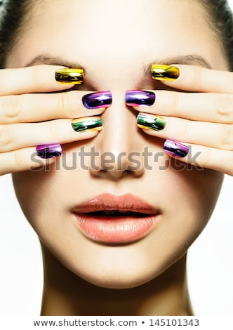 Red Lips Makeup and manicured polish nails. Fashion brunette wom Stock photo © Victoria_Andreas