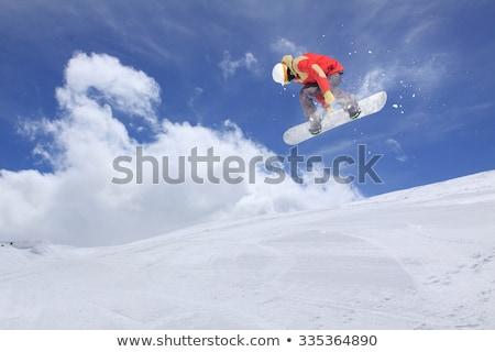snowboard · kış · kamp · poster · uzay · ahşap - stok fotoğraf © nickolya