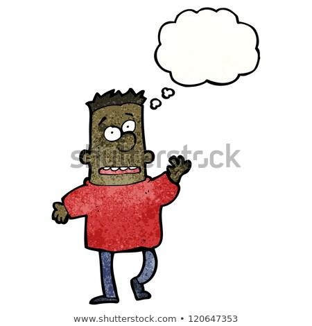 Cartoon nerwowy człowiek bubble myśl strony Zdjęcia stock © lineartestpilot