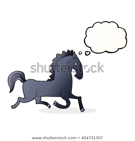 cartoon running black stallion with thought bubble Stock photo © lineartestpilot
