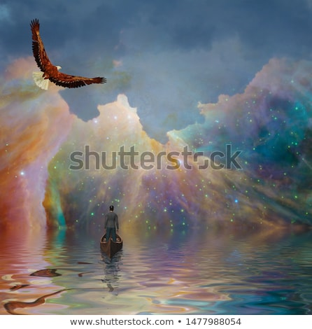 eagle flying in the universe   3d render stock photo © elenarts