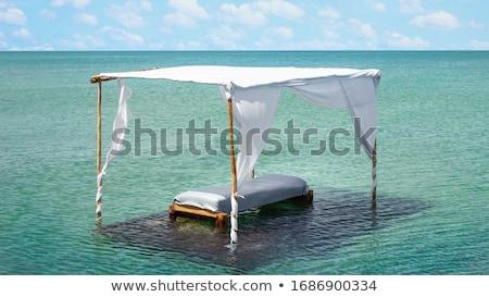 Nyári vakáció Belize tengerpart személy tart kártya Stock fotó © stevanovicigor