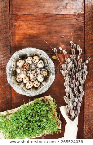 Easter composition of catkins, eggs and cress on wooden table Stock photo © przemekklos
