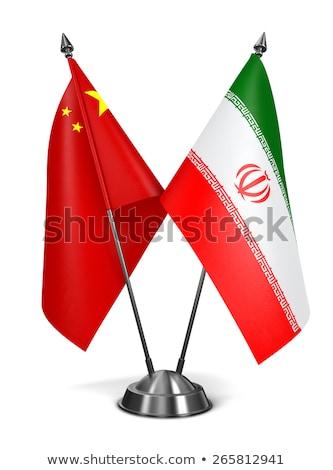 Kína Irán miniatűr zászlók izolált fehér Stock fotó © tashatuvango