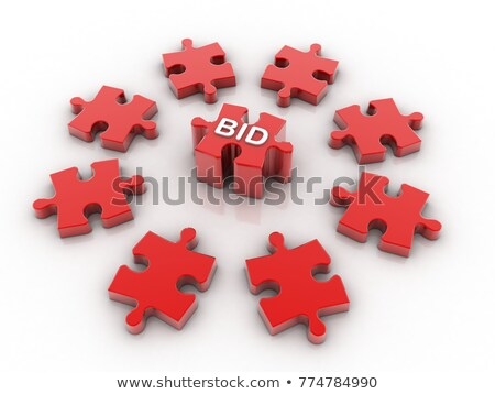 Bid - White Word on Red Puzzles. Stock photo © tashatuvango