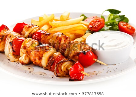 carne · arroz · comida · vegetariana · aislado · blanco - foto stock © ironstealth