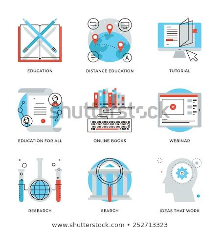 Dun lijn icon online onderwijs vorm Stockfoto © WaD