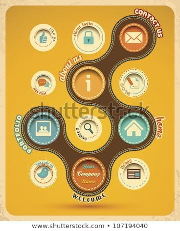 поиск желтый вектора икона дизайна цифровой Сток-фото © rizwanali3d