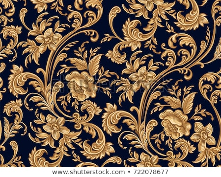 Gold damask pattern with vintage floral ornament Stock photo © liliwhite