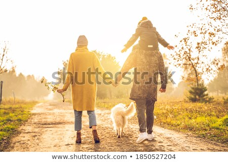 mother holds son for the hands in the park in autumn stock photo © Paha_L