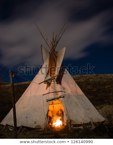 Native American Indian in the moonlight Stock photo © adrenalina