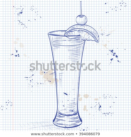 tequila sunrise realistic cocktail on a notebook page stock photo © netkov1