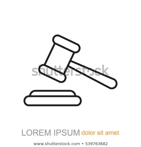 auction gavel line icon stock photo © rastudio