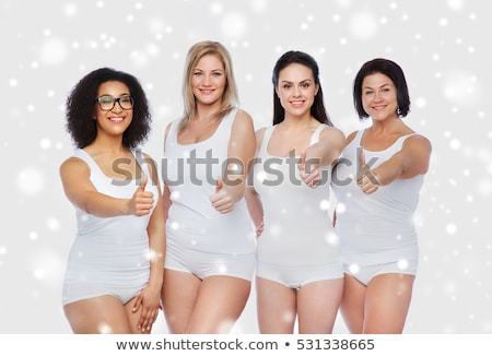 Plus size nő alsónemű mutat remek kézmozdulat Stock fotó © dolgachov