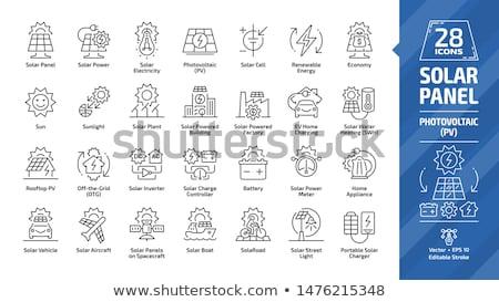 house with solar panel line icon stock photo © rastudio