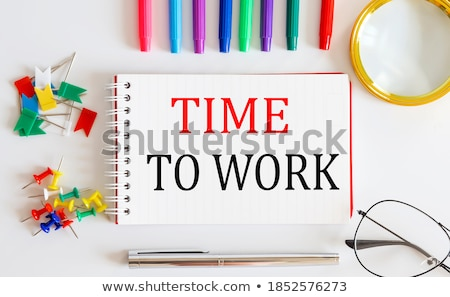 Relax word and office tools on wooden table Stock photo © fuzzbones0