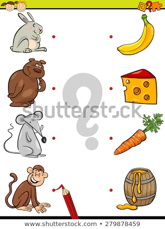 Game template with matching kids and snacks Stock photo © bluering