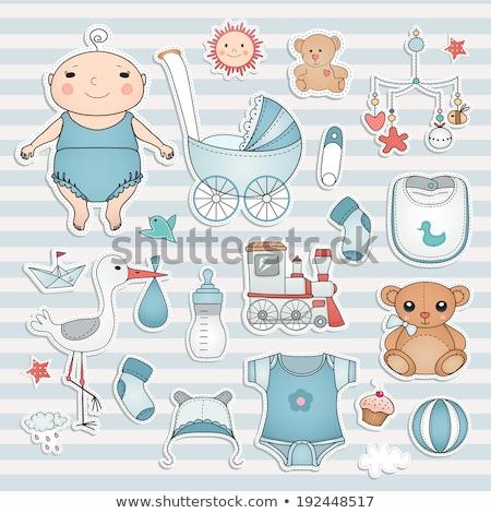 baby boy shower card with stroller and teddy bear Stock photo © balasoiu