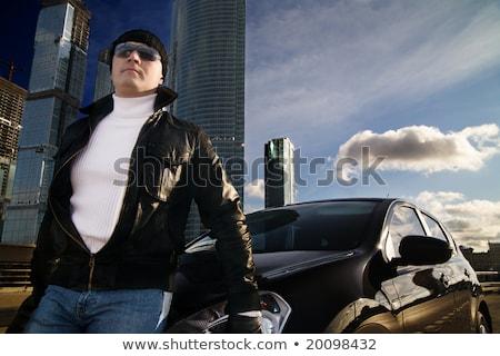 Twardy człowiek samochodu butelki pistolet pustyni Zdjęcia stock © jossdiim
