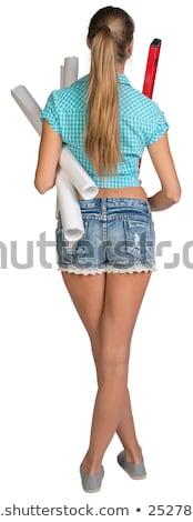 Widok z tyłu kobiet ciało dżinsy szorty sexy Zdjęcia stock © deandrobot