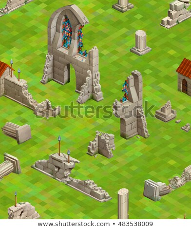 medieval buildings on green grass isometric seamless pattern stock photo © evgeny89