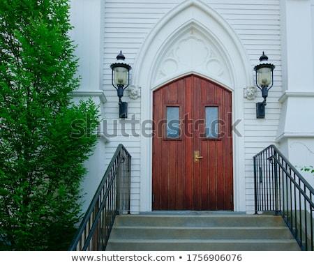古い · 教会 · 入り口 · 階段 · 具体的な · 階段 - ストックフォト © compuinfoto