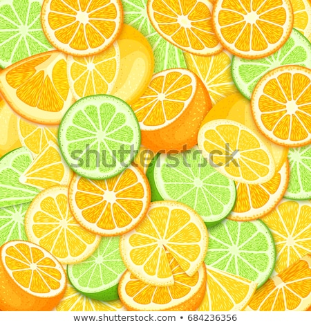Stock photo: Citrus frame with orange and lime. Summer frame, label fruit