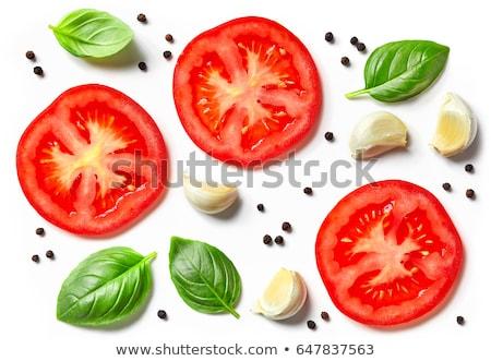 Pomidorów bazylia biały tablicy żywności Zdjęcia stock © Digifoodstock