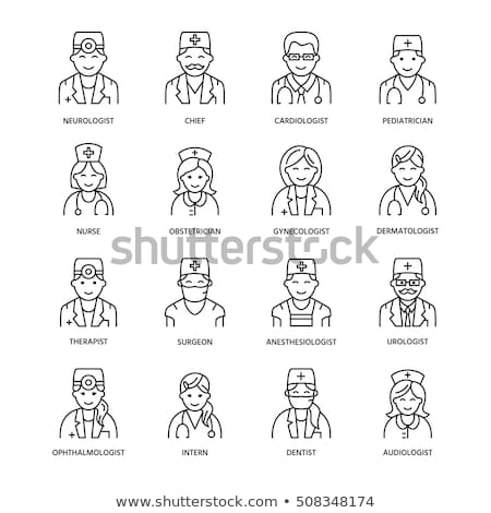 Cute vector line icon of doctor. Hospital, clinic linear logo. Outline medical sign - surgeon, cardi Stock photo © Nadiinko