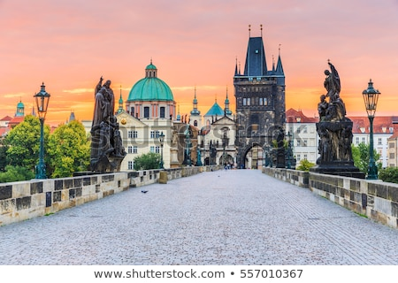 Stock photo: Cityscape of Prague with Castle, Towers and Charles Bridge at ni