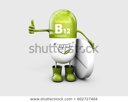 Vitamine brillant pilule cartoon capsule 3d illustration Photo stock © tussik