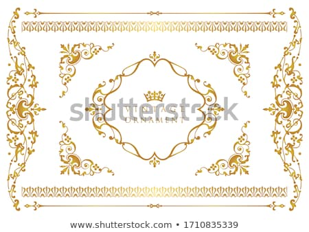 golden calligraphic ornamental frames   vector set stock photo © blue-pen