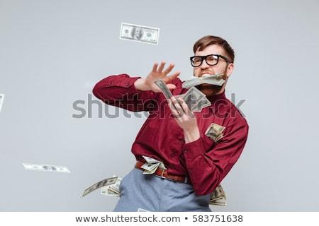 Boldog férfi stréber vicces szemüveg sikít Stock fotó © deandrobot