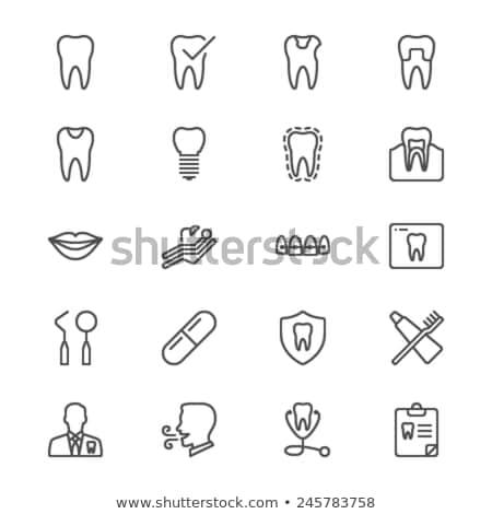 Stockfoto: Tand · lijn · icon · vector · geïsoleerd · witte