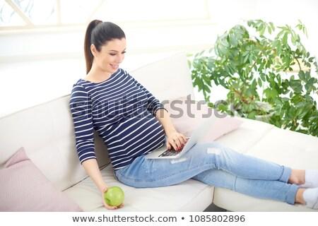красивой · молодые · беременная · женщина · ноутбука · сидят · диван - Сток-фото © deandrobot